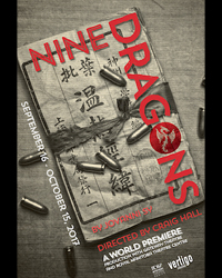 Image Description: The poster for Nine Dragons, black and white with red lettering, a scroll of paper with Chinese writing and bullets strewn on top. End description.