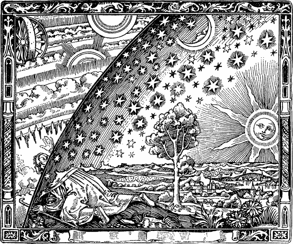 1888's Flammarion engraving depicts a pilgrim peering through the firmament ( raqia , רקיע), observing the un-manifest realm beyond, which pictures a class of celestial being known as the  ophanim  (אוֹפַנִּים), described in Daniel, Ezekiel, the Book of Enoch, and the Dead Sea Scrolls