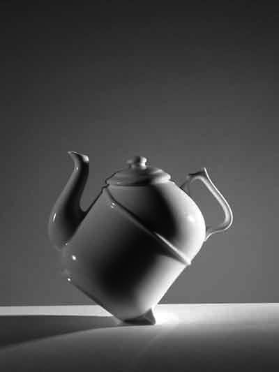 """Behavioural design has to do with the pleasure and effectiveness of use. Here the tilting teapot is a winner."" (Tilting it upright from from its back shifts the water from the tea leaves' chamber, preventing bitterness.)"