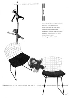 Herbert Matter ad for Knoll featuring furniture by Harry Bertoia and toys, including Kaj Bojesen's iconic monkey