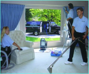 High temperature steam extraction of carpet, upholstery and drapery cleaning.