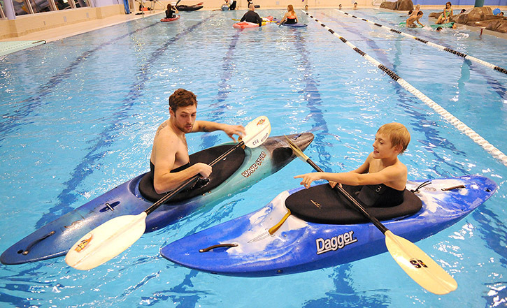 Thorin Rampton, 11, asks instructor Craig Allen a question during a Chilliwack Centre of Excellence (CCE) paddling session at Cheam Leisure Centre on the weekend. The CCE Paddling Club is hosting kayaking pool sessions at the Cheam Leisure Centre on Sunday mornings from 8:30 to 10 a.m. These sessions run until the end of March, and will focus on differing themes each week: youth paddlers, water polo, and rolling techniques. Club equipment is available, and the boat trailer is on site by 8 a.m. — show up early to get your gear and maximize pool time with your friends. A CCE coach will be in the water every Sunday. The cost is $10 per session for youth paddler and water polo, and $15 per session for rolling techniques. Register at www.chilliwackcentreofexcellence.sportical.com/events. Check the CCE website at www.ccekayak.com for membership and up-to-date information on what is scheduled for each Sunday. Beginner lessons will also be starting soon in the pool. JENNA HAUCK/ PROGRESS