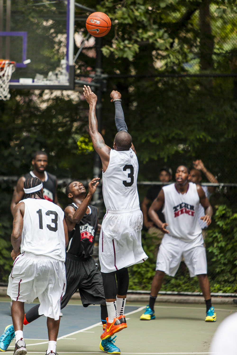 "Former Rice Raider, Cincinnati Bearcat, and NBA player Kenny ""Serious Satellite"" Satterfield was raining threes during the Team Nike Tryout at the world famous West 4th Street Court."
