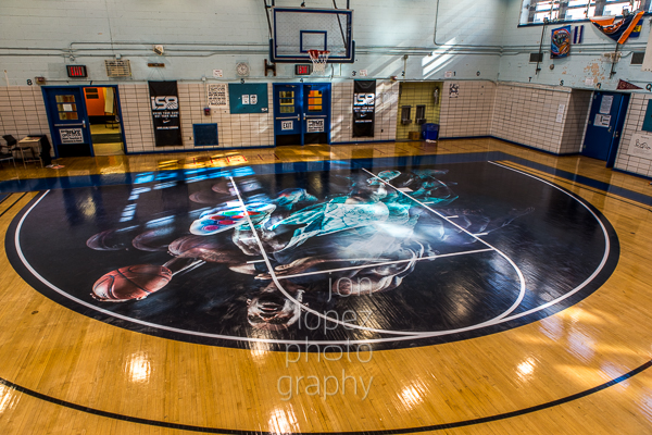 Nike laced the basketball court at Richard Grossley Junior High School with this awesome LeBron James decal just for the title game.