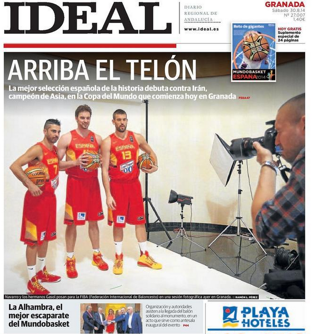 A photo of me creating my shots of Spain's big 3 made the cover of a newspaper in Granada, my first stop in Spain during the 2014 Basketball World Cup.