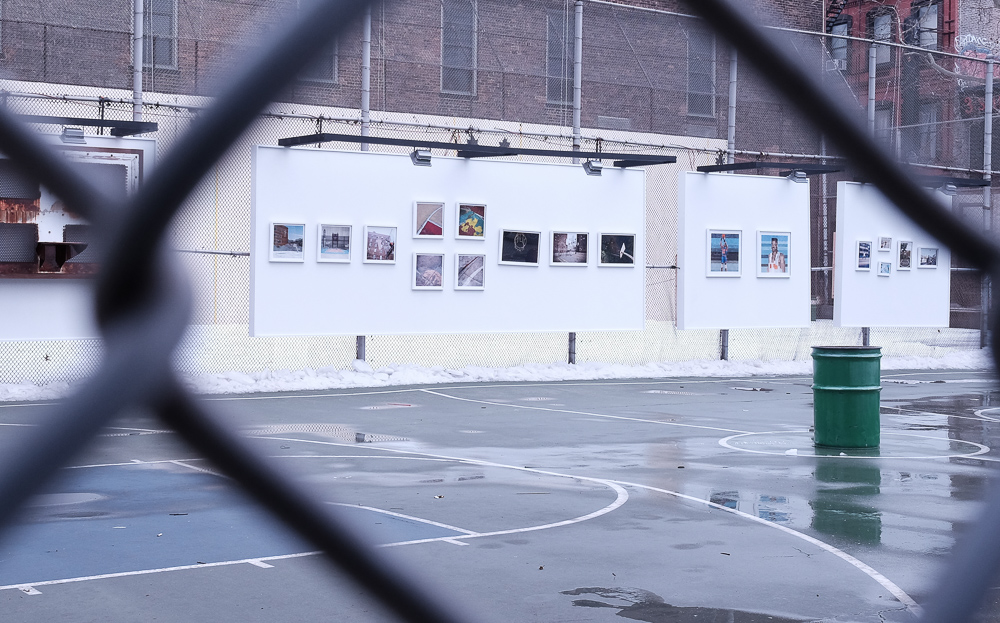 L-R: Kevin Couliau's amazing outdoor basketball work (10 pieces, left/center); Adam Lister's two paintings for the exhibition were incredible; and Bobbito Garcia's (far right) iconic images.