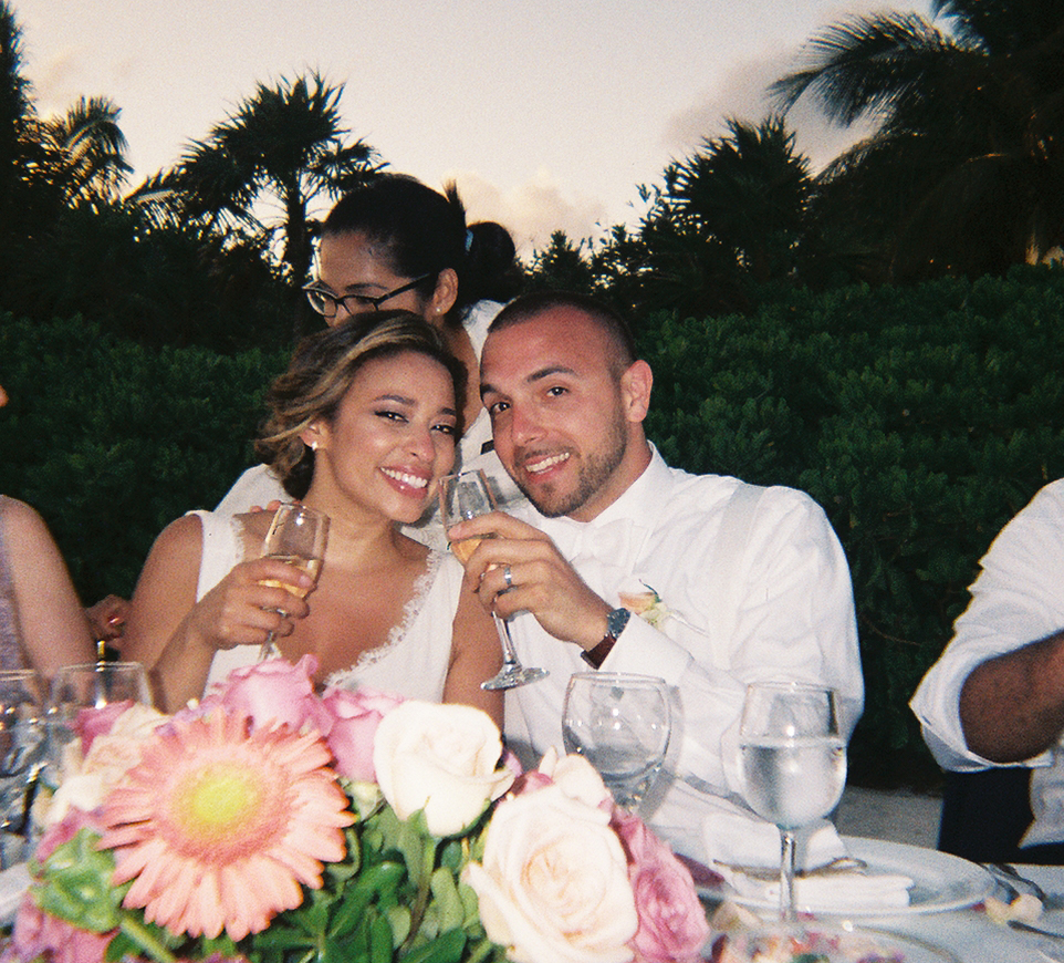 Alexa and I said our vows in Tulum, Mexico with our family and friends in 2015. We gave all of our guests disposable cameras for the weekend and this photo credit goes to one of them.