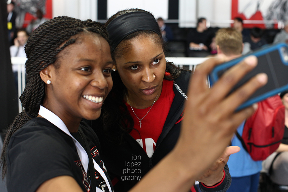 Maya Moore took selfies with the first girls to be selected for the Jordan Brand Classic.