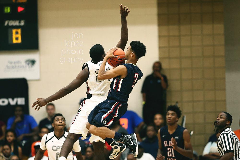 St. Louis Eagles guard Jordan Barnes hits a double clutch buzzer-beating three pointer to defeat Team CP3 in the Peach Jam semifinals.