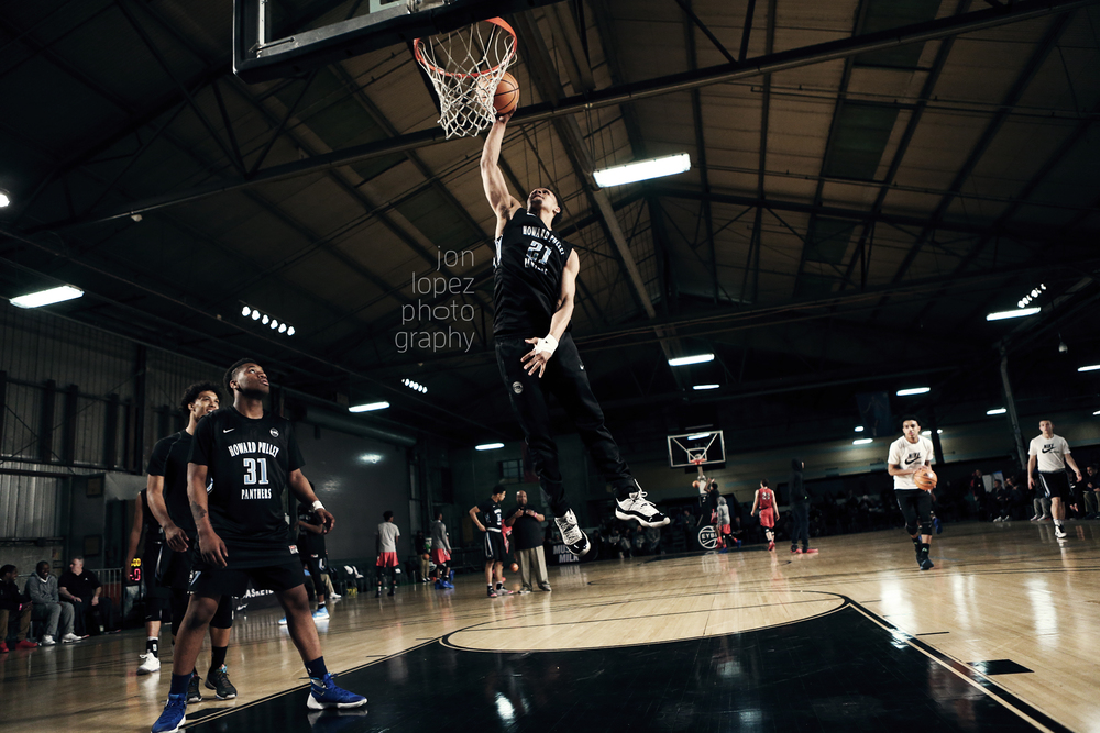 Gary Trent, Jr. #21 of the Howard Pulley Panthers (MN) dunks during pregame warmups.