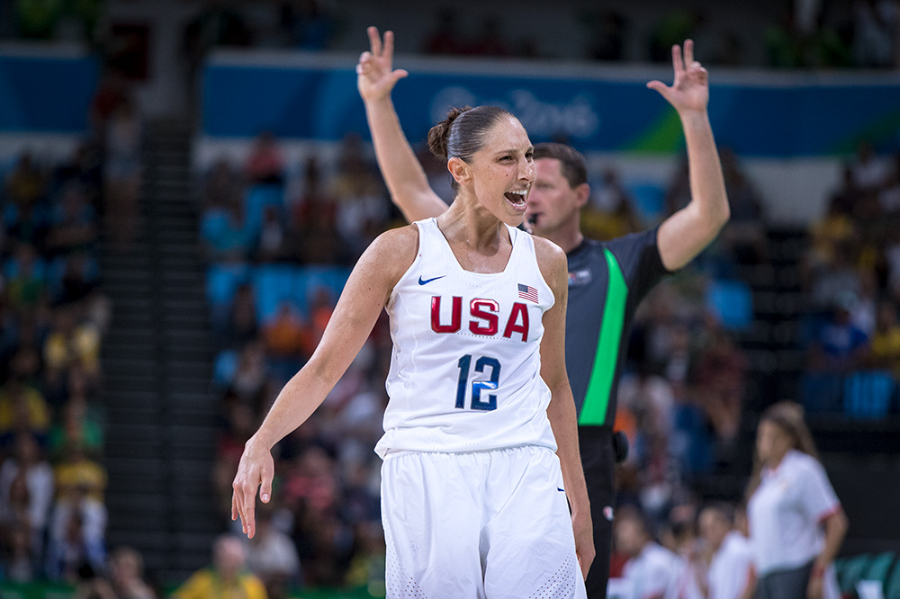 Diana Taurasi celebrates yet another of her three pointers, she holds the record for made 3's in a single game at the Olympics with six.