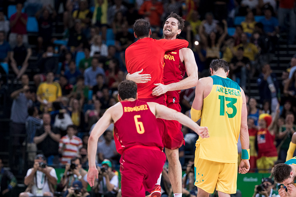 Pau Gasol celebrates a bronze medal victory with this teammates. Expecting emotions to be running high at the Olympics, I was extra focused on the moments in between the action.