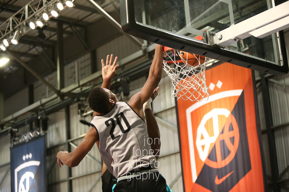 With the top players in the country under one roof highlights are in abundance. Here, Troy Brown posterizes a defender at the hangar-turned-elite basketball facility in Los Angeles, CA.