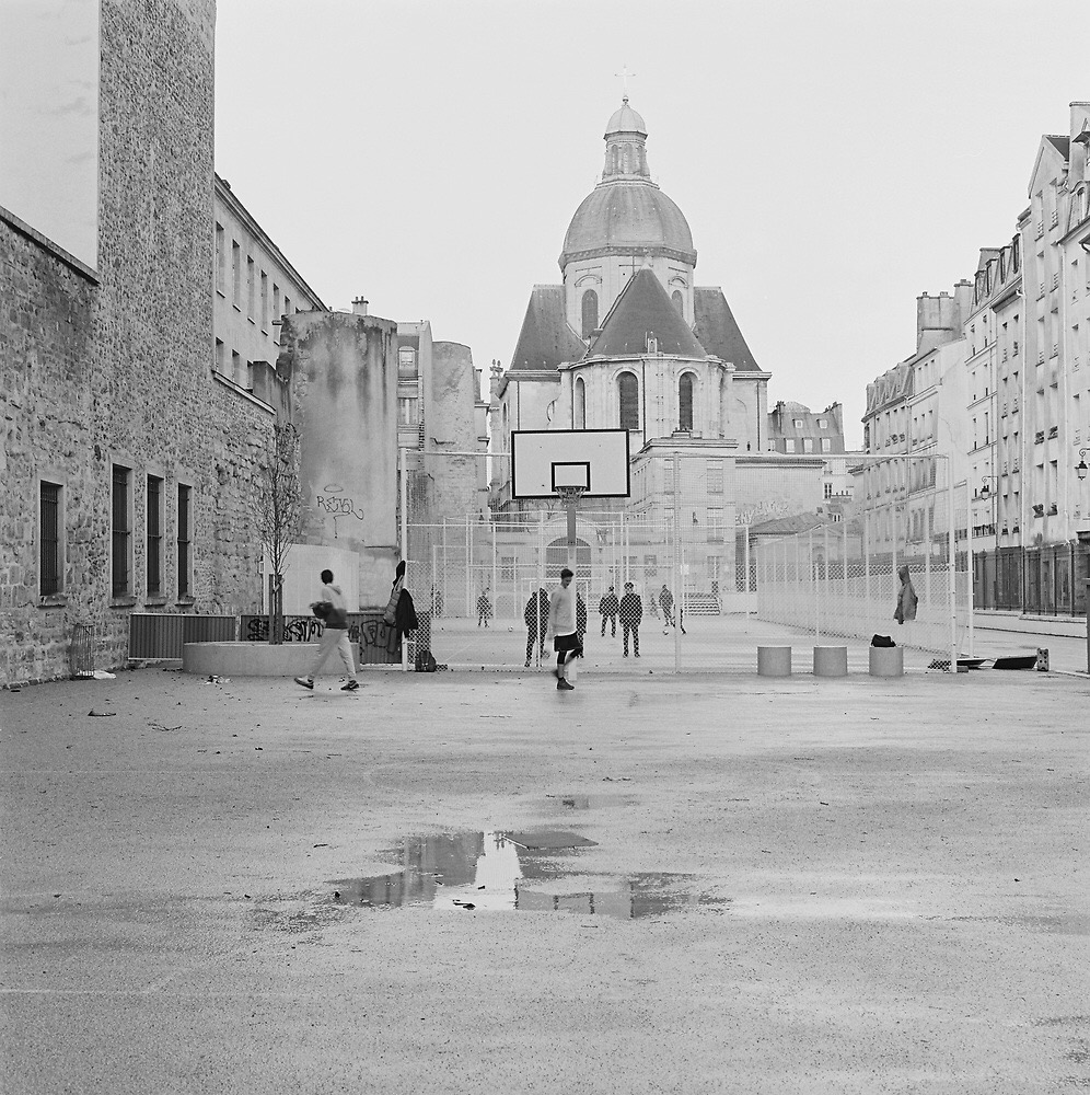 Basketball court in Paris, France that was shot on my Hasselblad 501CM using Kodak Tri-X 400 film.
