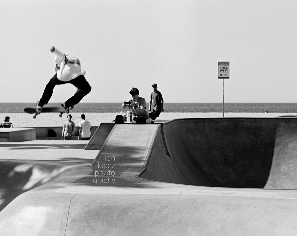 Skateboarding at Venice Beach, CA. Shot on Kodak Tri-X 400.