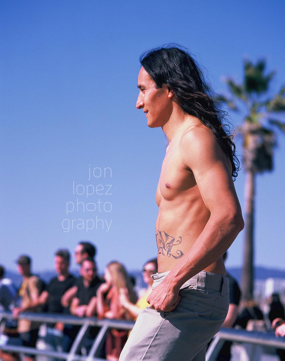 Skateboarder at Venice Beach photographed on Fuji Provia 100.