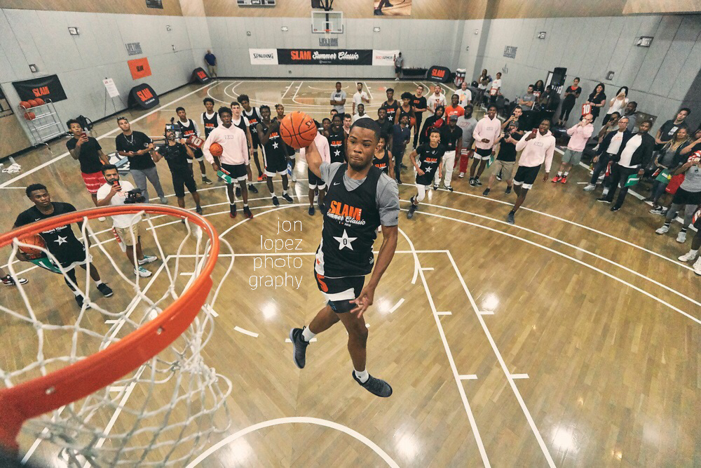 Cassius Stanley rises during the  SLAM Summer Classic  dunk contest en route to winning the title belt for the inaugural event.