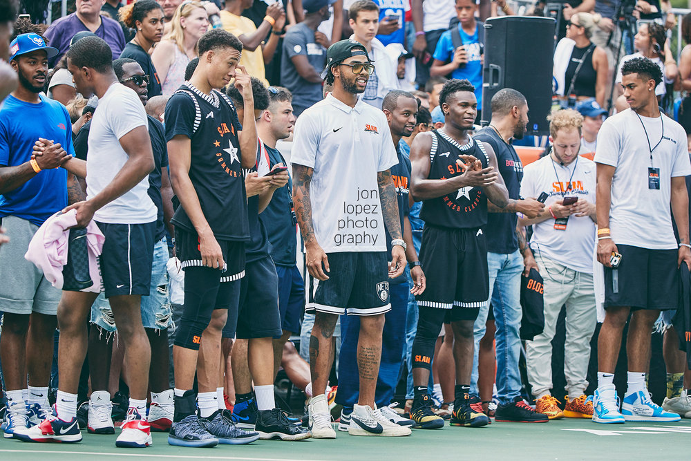 Brooklyn Nets guard D'Angelo Russell coaches from the sidelines during the  SLAM Summer Classic  at Monsignor Kett Playground in August of 2018.