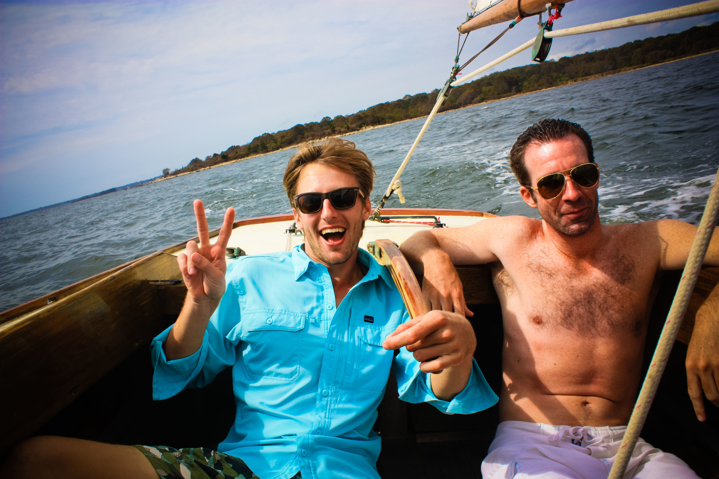 Jim and Jeff in the Alue Optics Six and Eight Sunglasses sailing