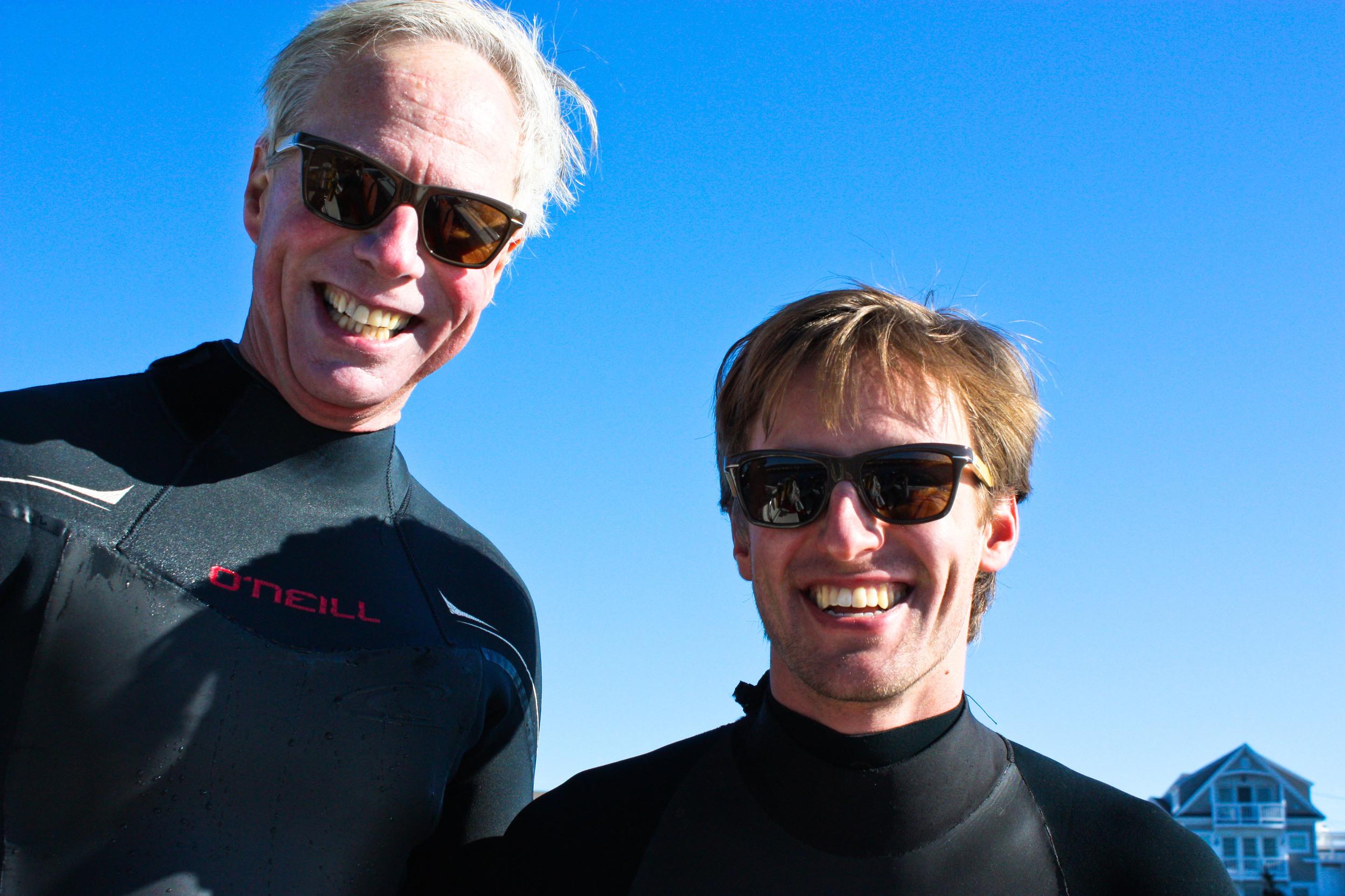 jim and john in alue sunglasses