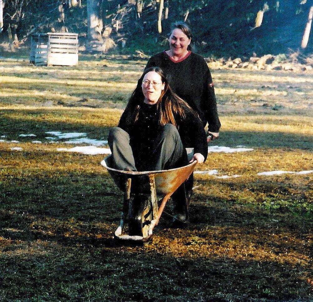My mom in a wheelbarrow