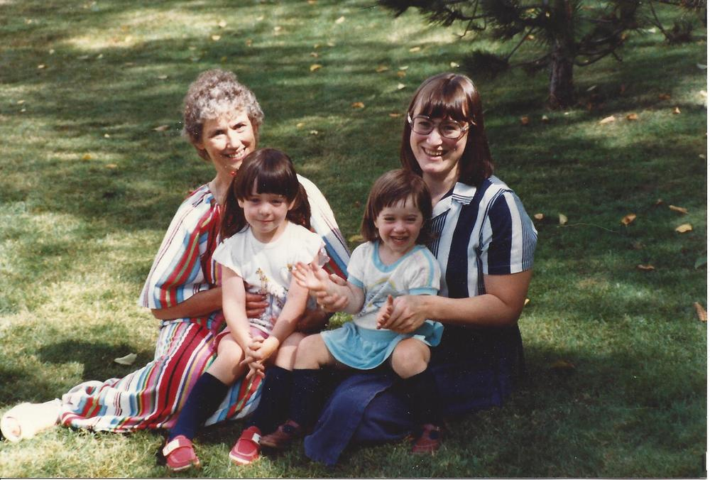 my nana, mom, me, and little sister