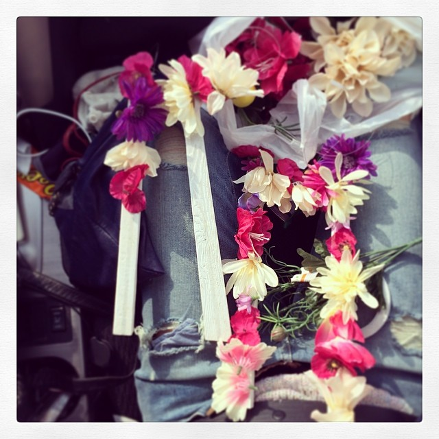 Last minute crafting in the car … Roadtrippin to #Toronto for #ooaks14 @ooak_toronto #handmade #jewelry #boothH24 #flowers #spring