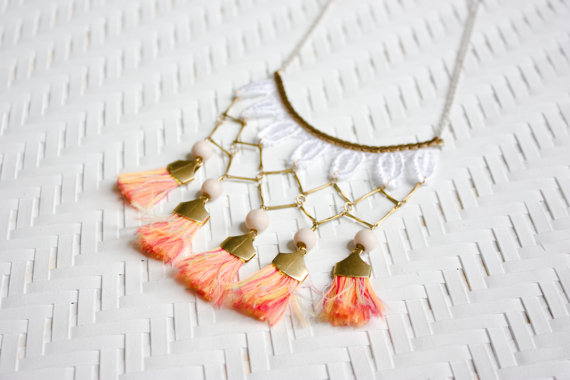 Cali Necklace by This Ilk… Happy Summer!! #eager #sunset #fringe #tassel #necklace #statementnecklace #lace #beach #boho #brass