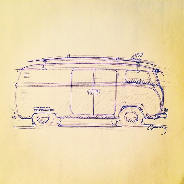 My boyfriend made a #drawing while waiting for sushi #kombi #camper #vw #surf #roadtrip
