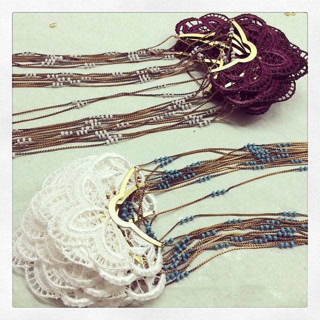 #Orchid necklaces ready!!! Come and pick one up @ tomorrow's event … See facebook.com/this.ilk for details! #event #montreal #modemtl #fashion #handmade #videdressing #necklace #lace #vintage #beads
