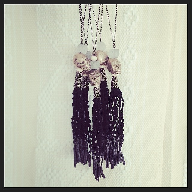 Yeah! Got the #DiadelosMuertos #gypsy #necklaces done just in time for #pucespop You better come check them out… Indonesian cast brass #skulls with recycled glass faceted bead and #lace #fringe #tassel. Limited edition only 10 available!!