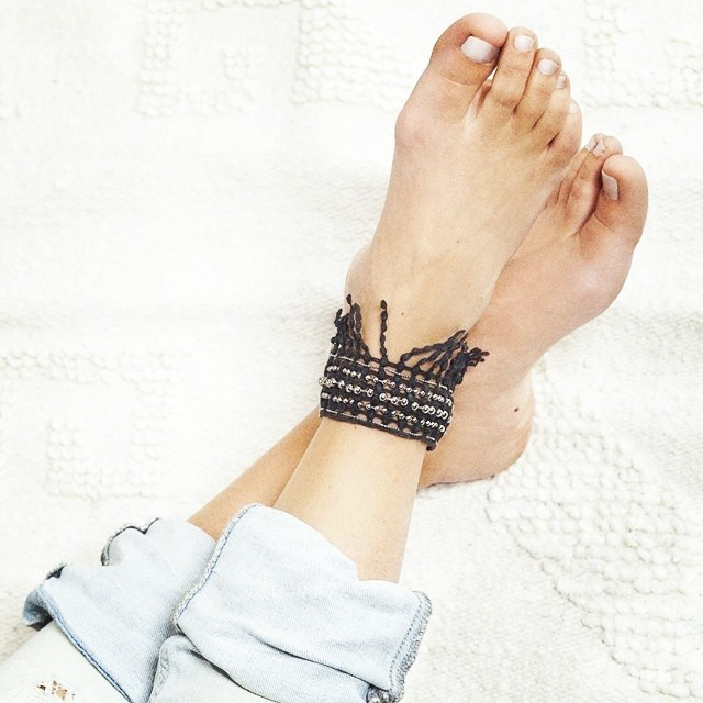 Chilling in #Cabasa #anklet by #Thisilk  #jewelry #lace #jewellery #shoplocal #handmade #boho