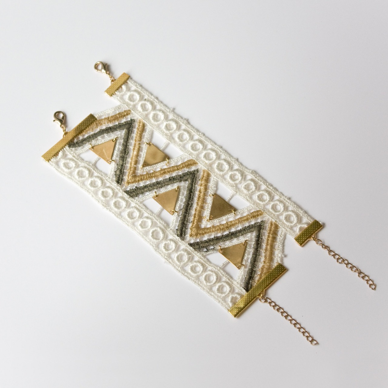 etsyfindoftheday: etsy find of the day 1 | 10.8.13 'aquarius' lace bracelet by thisilk GAH. how sick is this bracelet?! there are so many details to fall in love with … the gold, ivory and bronze lace, the inclusion of the brass triangles, the trendy boho design, the double fasteners. i'm swooning.