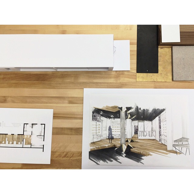 Today we got to see and evaluate the work of University of Montreal's future Interior Design graduates…  They worked on a Flagship store for @thisilk !!! #design #UdM #shop #InteriorDesign #DEI2015 #collaboration #storefront #drawing #prototype #mockup  (at Faculté de l'Aménagement)