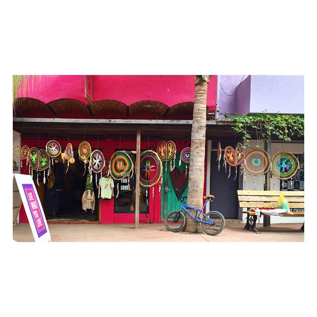 And in my sea of faded colors … I will slap you with some cheerful brights! @pachamamasayulita #mexico #sayulita #dreamcatcher #shop