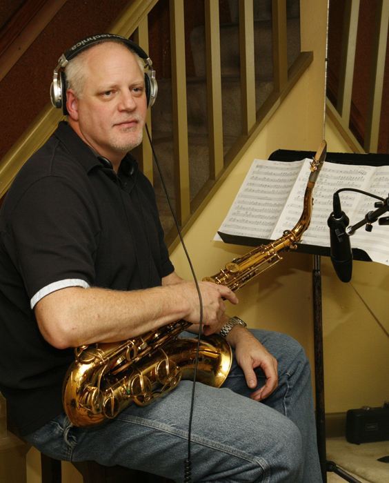 Mark Davey recording tenor sax on West 23rd