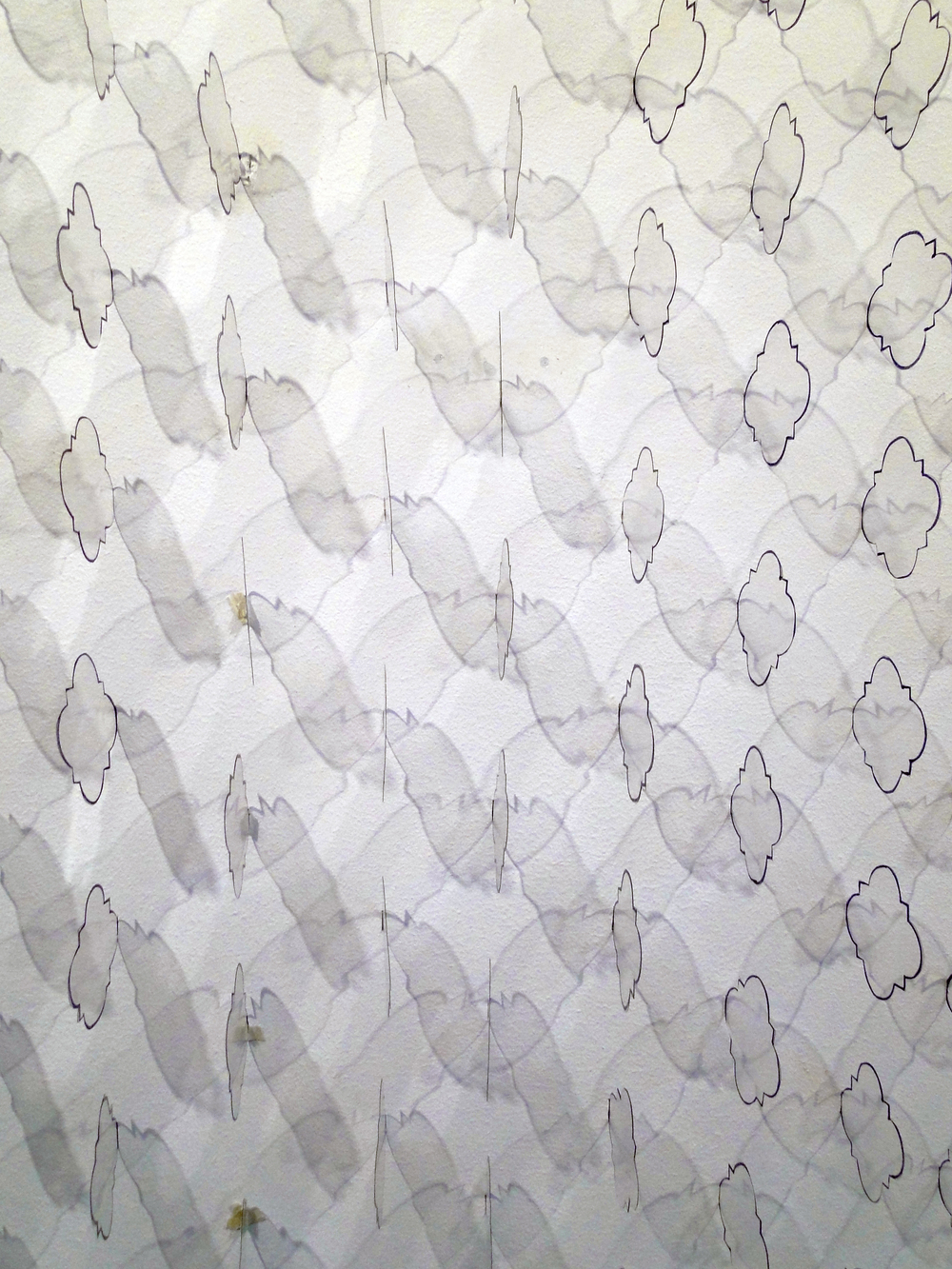 200 Quatrefoils 200 Acetate Quatrefoils and marker on cut dry wall. Site specific. 145 x 145 cm. 2014