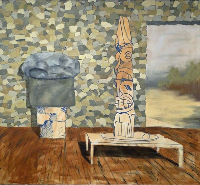 Totem For Hockney. Painted in 2011 it was one of my larger paintings in the series at 6x6ft /180x180cm. I was very inspired by David Hockney's American Collectors painting. It was also painted during an amazing residence.  @artinstitutechi @cacoalition #davidhockney #hockney #americancollector #artcollector #oiloncanvas #largepainting #totem #modernism #contemporary