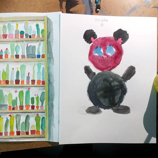 Friday night watercolors with my neice. So fun.  #artfamily #familyart #collaboration #newart #highfiveart #myshadow #showourart