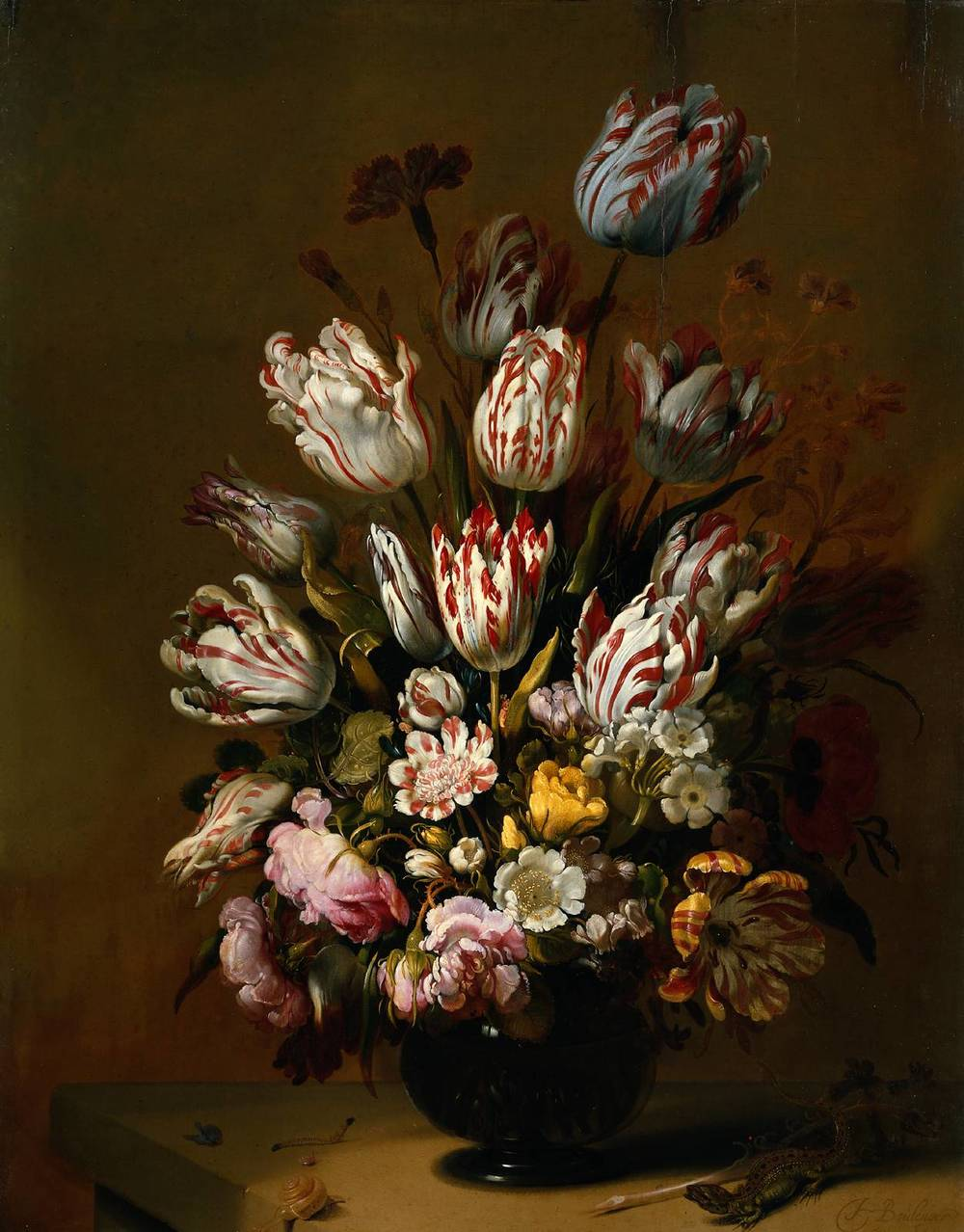 Still Life with Flowers  by  Hans Bollongier  (1623–1672) painted in 1639 showcasing the prized  Semper Augustus  tulip.
