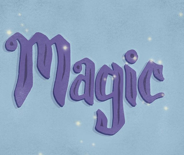 """Today I didn't know what word to letter. So I asked my writer sister and she brilliantly suggested """"magic"""". Why is that brilliant, you ask? Because next week, oh next week we are going to Disneyland 😍✨ And I am so stinkin' excited! Having kids now Disneyland is even more magical all over again. And what makes it yet more enjoyable is all the beautiful art/illustrations/lettering they have ALL OVER THE PLACE. I always leave full of inspiration and ideas. Bring on the magic 💫 . . . . . . . #typematters #strengthinletters #thedesigntip #calligritype #thegoodtype #lettering #handlettering #type #typography #letters #typespire #inspiration #typehype #ligaturecollective #typeverything #typographie #typeinspire #magic #disneyland #sparkle #blue #purple #inspiration"""