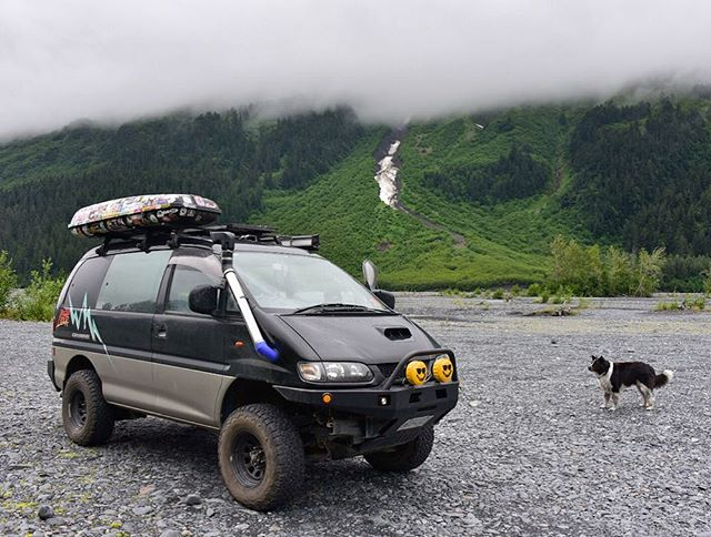 nugget can't believe we have the van back either! sand (rock) bar camping near exit glacier. after a couple weeks waiting for repairs, we're back on the road — more on @beoldlater #beoldlater #panamericanhighway #adventuremobile #adventuredog