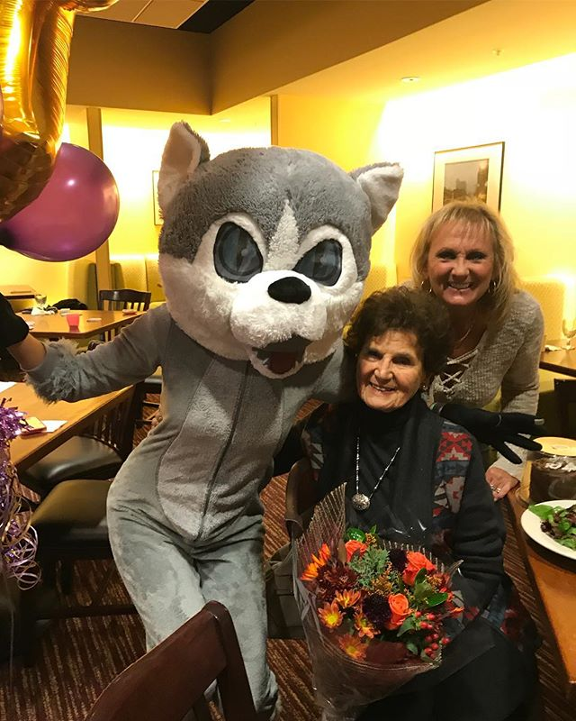 Sometimes you just need to surprise your Nani on her 90th birthday at her bridge game dressed as a husky. #buffalony #beoldlater #family #surprise