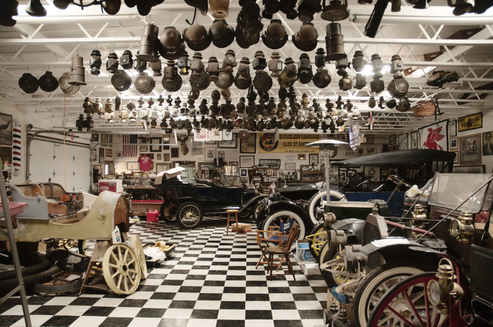The garage of a man who preserves and restores old cars
