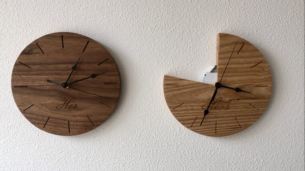 """Lies I've Been Told: 'My time is more valuable than your time' (His & Hers Clocks)  Walnut, Ash & Clock Components  2017"