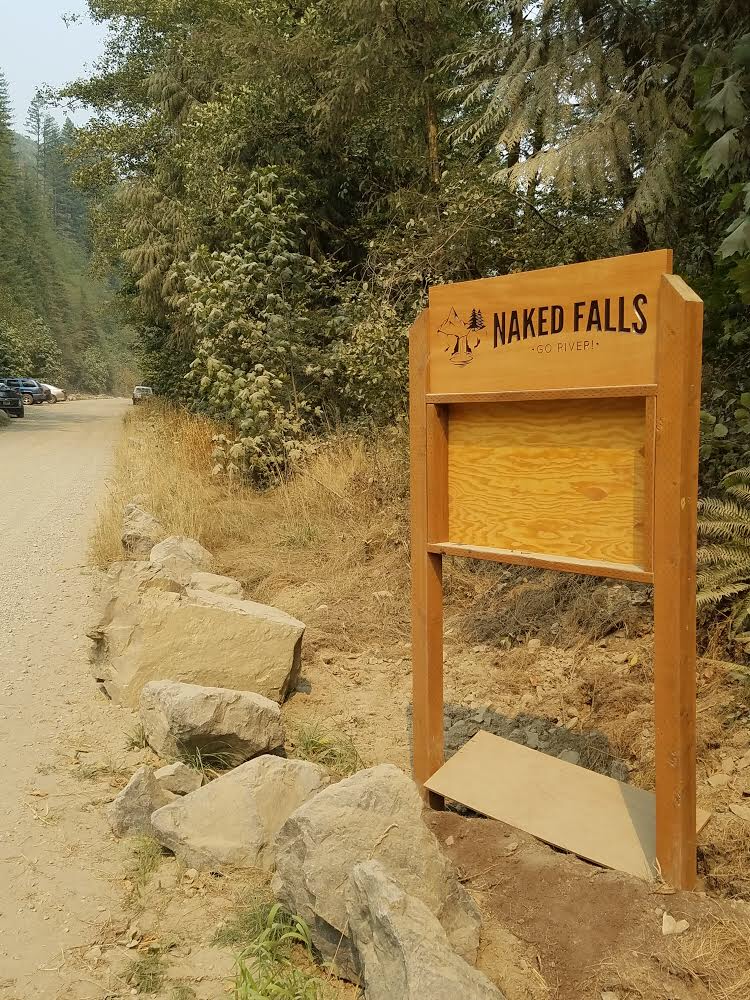 Naked Falls Sign made with douglas fir and water proof finish.