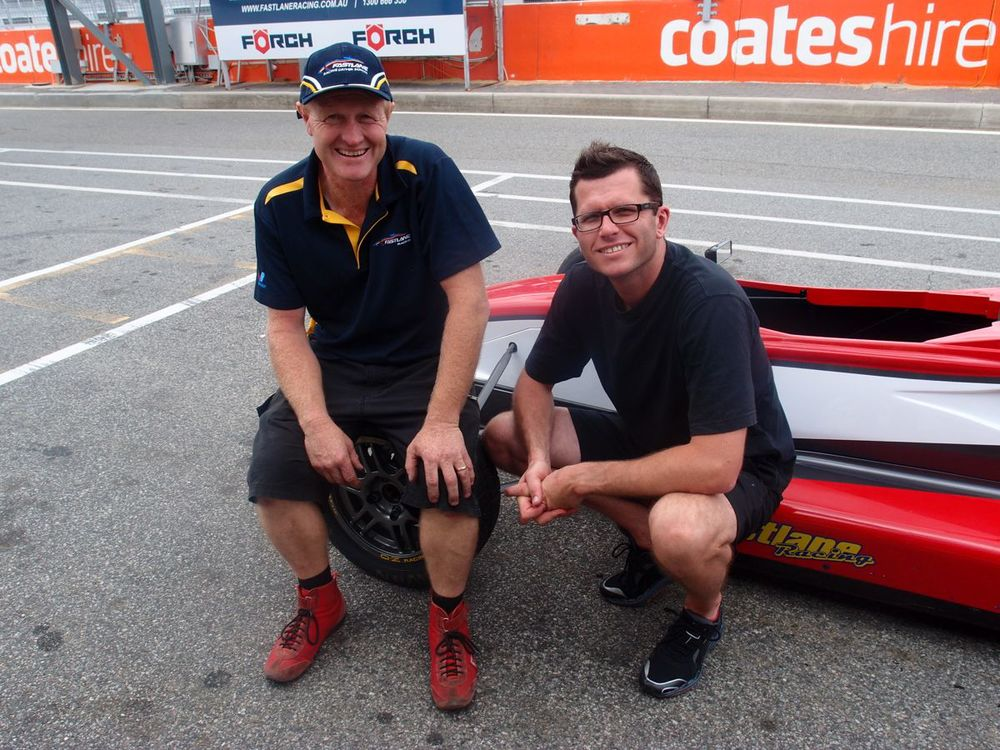 Brett Lupton and Garth Tander trackside at Fastlane Racing