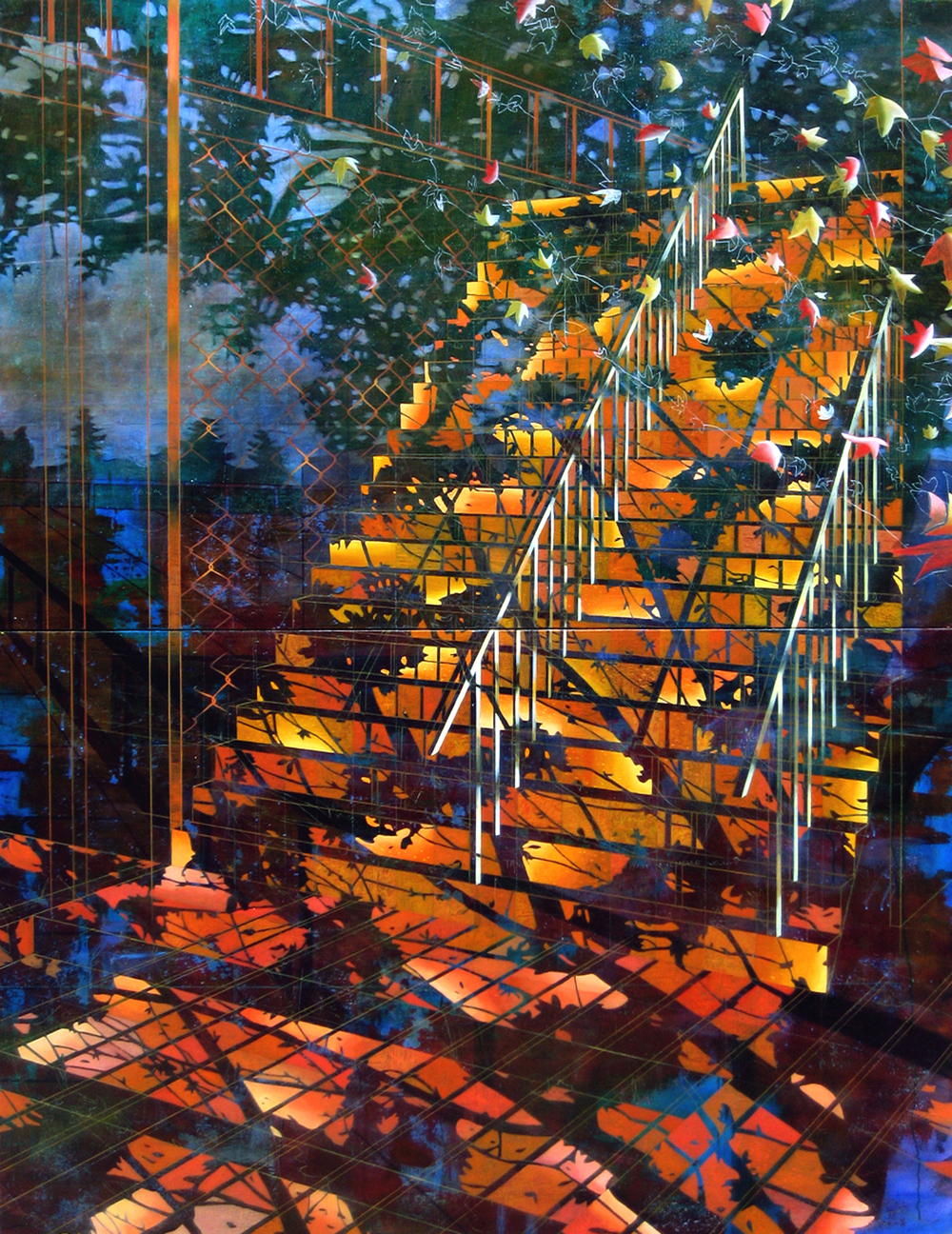 ​  Park School Rail   76 x 59  Oil On Canvas  2012