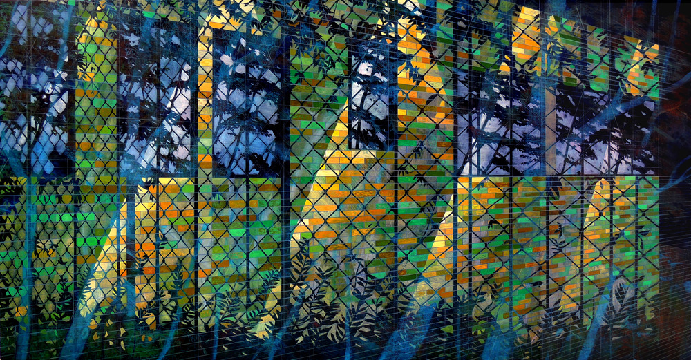 Electric Fence   47 x 90  Oil on Canvas  2013
