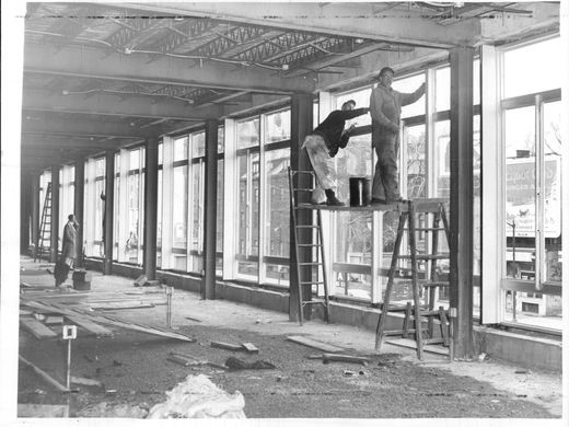 Scaffolding on the interior of the Rochester War Memorial, 1953